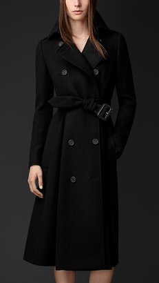 Burberry Brushed Virgin Wool Skirted Trench Coat
