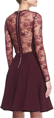 Elie Saab Sheer-Lace-Top Long-Sleeve Dress