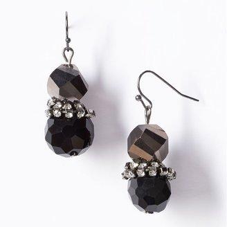 Vera Wang Simply vera jet simulated crystal and bead drop earrings