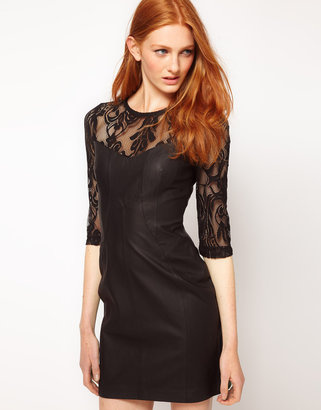 Warehouse Leather With Lace Panel Dress