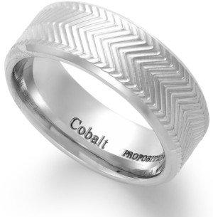 Proposition Love Cobalt Chevron Accent Wedding Band