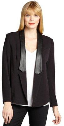 Wyatt black jersey knit faux-leather lapel tuxedo jacket