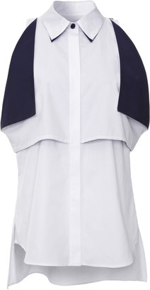 Prabal Gurung Contrast-Trim Cotton Blouse
