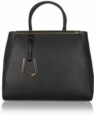 Fendi 2jours Medium Textured-leather Tote - Black