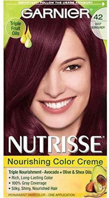 Garnier Nutrisse Nourishing Color Creme, 42 Deep Burgundy (Black Cherry) (Packaging May Vary) $7.99 thestylecure.com