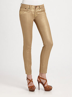 Ralph Lauren Black Label Metallic Cropped Matchstick Jeans