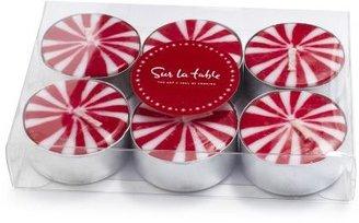 Sur La Table Candy Cane Tealight Candles, Set of Six
