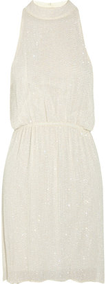 Alice + Olivia Marla bead-embellished silk-chiffon dress