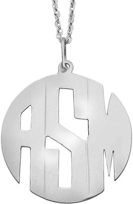 JCPenney FINE JEWELRY Personalized Sterling Silver 25mm Block Monogram Pendant Necklace