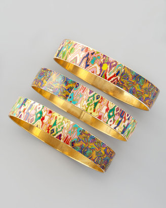 Chamak by Priya Kakkar Set of 3 Tie-Dye Print Bangles, Multicolor