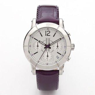 JLO by Jennifer Lopez stainless steel leather chronograph watch - women