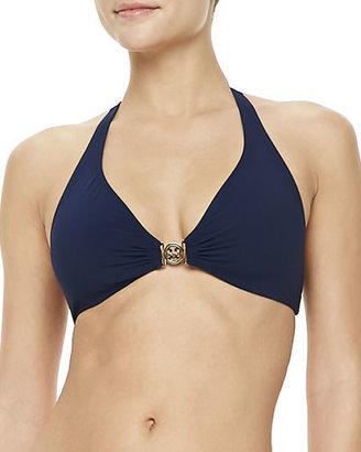 Tory Burch Logo Halter-Neck Swim Top $125 thestylecure.com