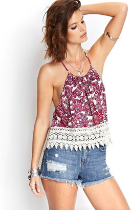 Forever 21 paradise paisley t-back cami