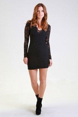 Nightcap Clothing Deep V  Long Sleeve Victorian Dress in Black $369 thestylecure.com
