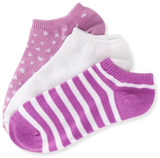 Aeropostale 3-Pack Solid, Stripe & Heart Ped Socks
