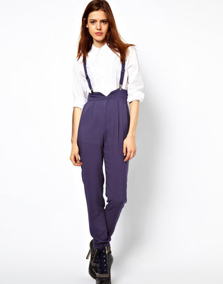 Asos High Waisted Pants With Suspenders
