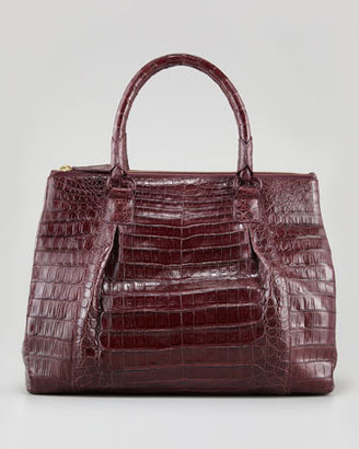 Nancy Gonzalez Executive Double-Zip Crocodile Tote Bag, Wine