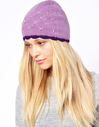 Alice Hannah Angora & Lambswool Blend Quilted Pearl Beanie