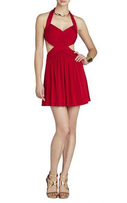 BCBGMAXAZRIA Shea Halter Cutout Cocktail Dress
