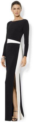 Lauren Ralph Lauren Long-Sleeve Colorblocked Gown $170 thestylecure.com