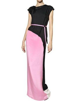 Roksanda Ilincic Two Tone Crepe Marocain Long Dress