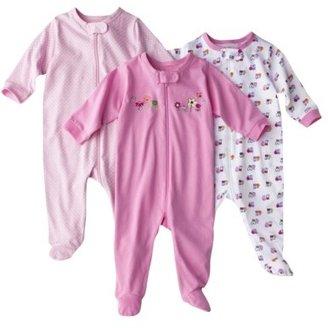 GE Gerber® Newborn Girls' 3-Pack Zip Front Sleep N' Play - Pink