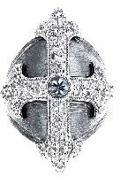 Jude Frances Fleur Cross Ring with White Sapphires - Oxidized Sterling Silver