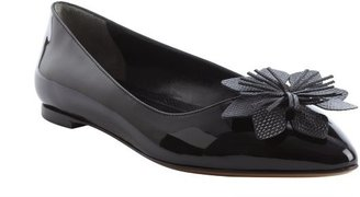 Fendi black leather flower detail pointed toe flats