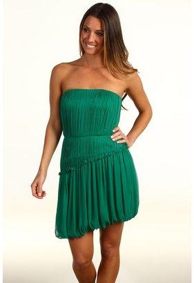 Vera Wang Crinkled Chiffon Strapless Dress (Emerald) - Apparel