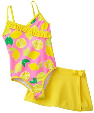 Carter's lemon one-piece swimsuit and cover-up skirt set - girls 4-6x