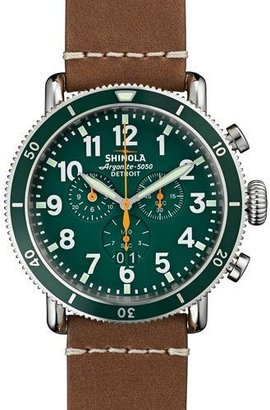 Shinola 47mm Runwell Sport Chronograph Watch, Brown/Green $875 thestylecure.com