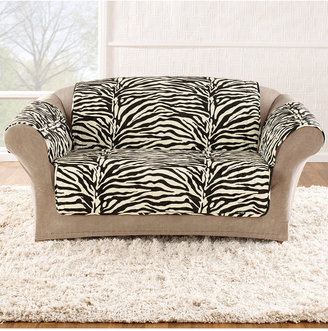 Sure Fit Velvet Zebra Pet Loveseat Slipcover Throw