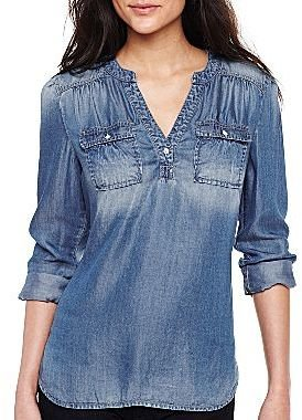 JCPenney a.n.a® Long-Sleeve Pullover Shirt