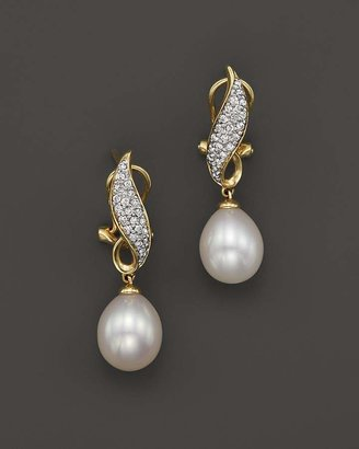Bloomingdale's Cultured Freshwater Pearl Drop Earrings with Diamonds in 14K Yellow Gold, 8mm