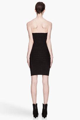 Herve Leger Black strapless criss-crossing bandage Dress