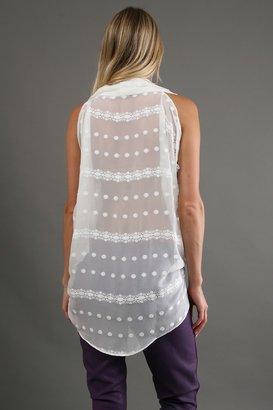 Zoa Crinkle Drape Top in White