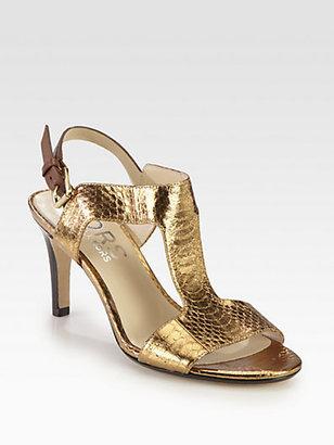 KORS Xyla Snake-Print Metallic Leather Sandals