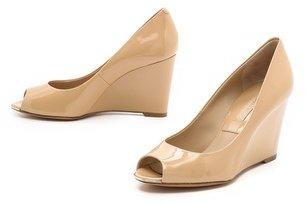 Michael Kors Valari Patent Peep Toe Wedges