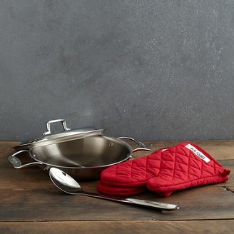 All-Clad Brushed d5 2 Quart All Purpose Pan With Oven Mitts, Spoon & Domed Lid
