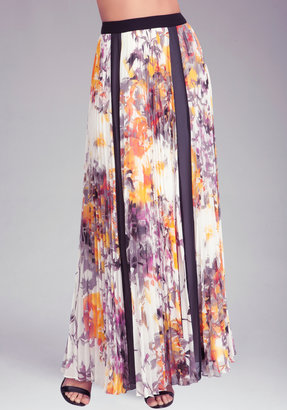 Bebe Pleated Floral Maxi Skirt