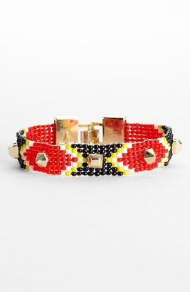 Vince Camuto 'Neutral Territory' Studded Bead Bracelet Fiery Red Multi/ Gold