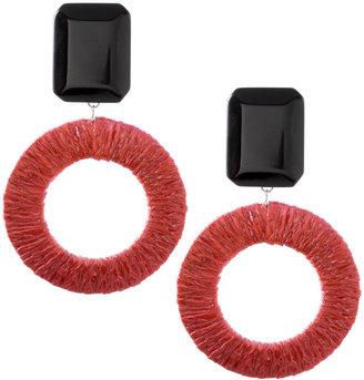 Asos Raffia Hoop Earrings With Contrast Clip-On Fastening (+)