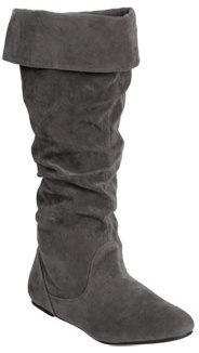 Wet Seal WetSeal Faux Suede Foldover Boot Black