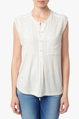 7 For All Mankind Mixed Media Henley Tank In Blanc De Blanc