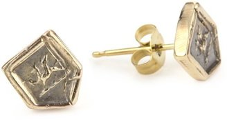 "Pyrrha talisman"" 14k Yellow Gold Mini Small Gryphon Stud Earrings"