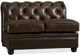 Pottery Barn Chesterfield Leather Armless Loveseat