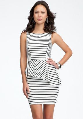 Bebe Asymmetric Stripe Peplum Dress
