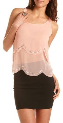 Charlotte Russe Tiered Sequin Trim 2-Fer Tank