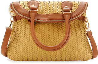 Neiman Marcus Fold-Over Woven Tote, Chartreuse/Tan