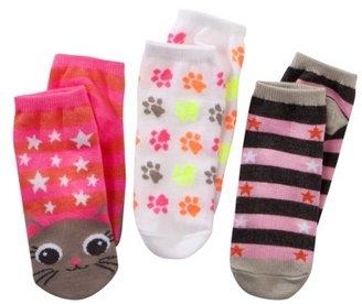Xhilaration Girls 3-Pack No-Show Cat Socks - Assorted